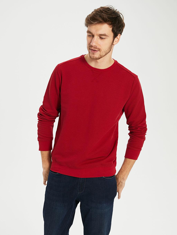 %45 Pamuk %52 Poliester %3 Viskoz  Bisiklet Yaka Basic Sweatshirt