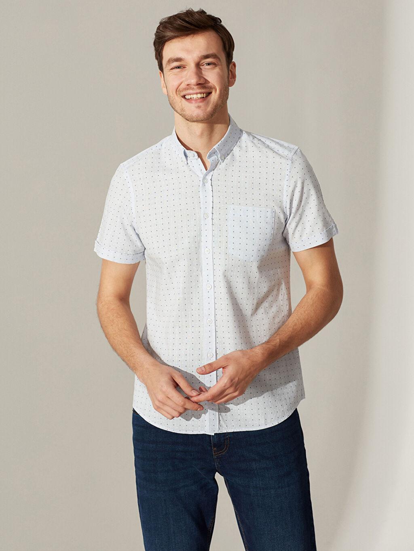 %100 Pamuk Baskılı Kısa Kol Gömlek Düğmeli Dar Slim Fit Desenli Kısa Kollu Gömlek