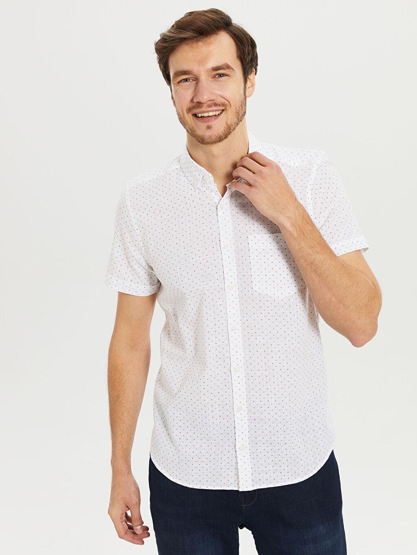Beyaz Slim Fit Desenli Kısa Kollu Gömlek 0S3063Z8 LC Waikiki