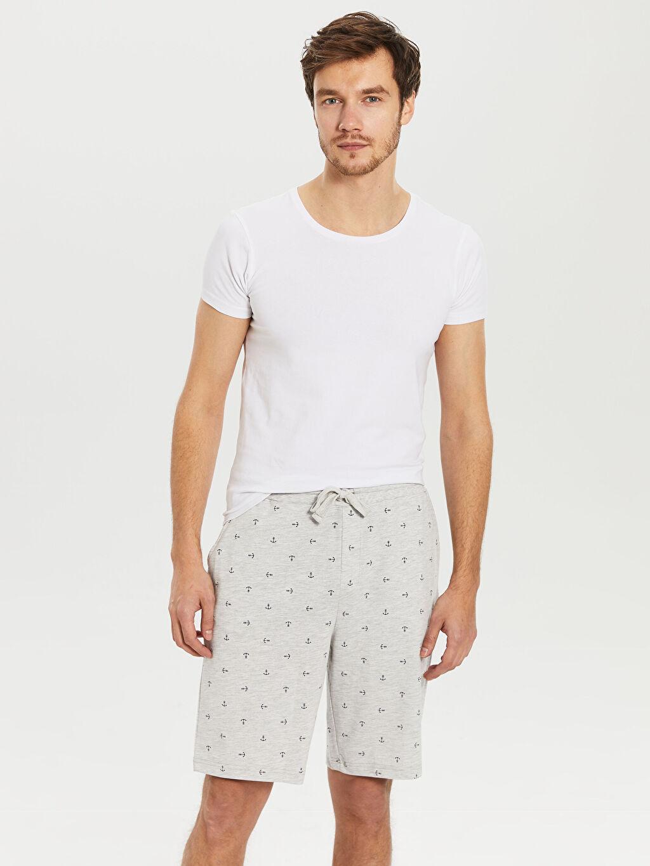 %50 Pamuk %50 Polyester Pijamalar Standart Standart Kalıp Desenli Şort Pijama Altı