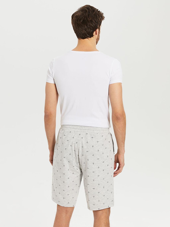 %50 Pamuk %50 Polyester Standart Kalıp Desenli Şort Pijama Altı