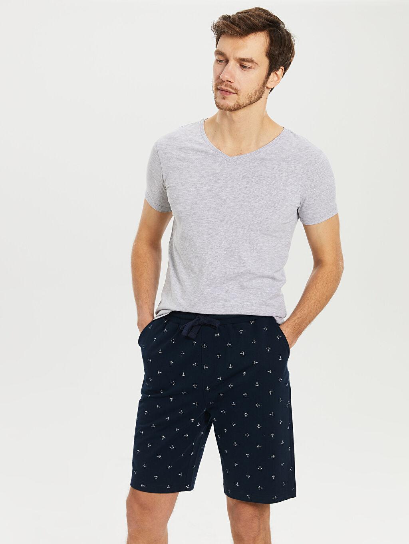 %100 Pamuk Pijamalar Standart Standart Kalıp Desenli Şort Pijama Altı