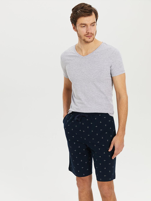 Erkek Standart Kalıp Desenli Şort Pijama Altı