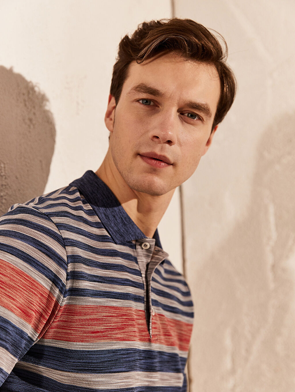 %51 Pamuk %49 Polyester İnce Çizgili Bol Tişört Polo Yaka Kısa Kol Polo Yaka Çizgili Tişört