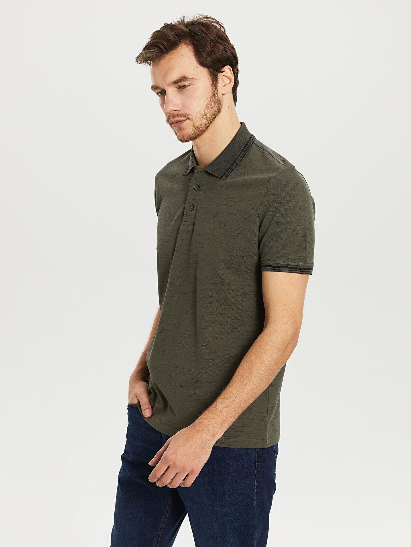 %97 Pamuk %3 Polyester İnce Standart Baskılı Tişört Polo Yaka Kısa Kol Polo Yaka Basic Tişört