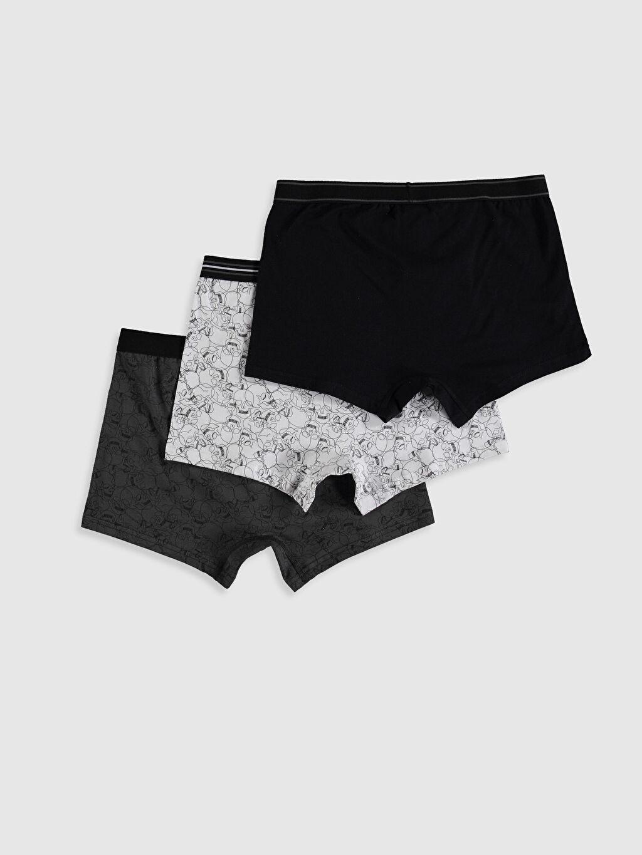 %95 Pamuk %5 Elastan İç Giyim Alt Standart Esnek Kumaş Desenli Boxer 3'lü