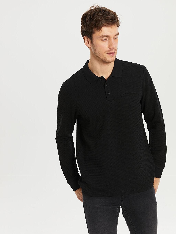 %32 Pamuk %63 Polyester %5 Elastan Düz Standart Uzun Kol Tişört Polo Polo Yaka Basic Uzun Kollu Tişört