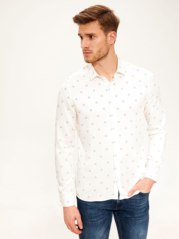 Beyaz Slim Fit Viskon Gömlek 0S4709Z8 LC Waikiki