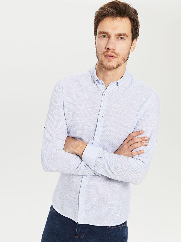 %100 Pamuk Gömlek Uzun Kol Düz Düğmeli Gömlek Yaka Dar Patlı %100 Pamuk Slim Fit Armürlü Gömlek