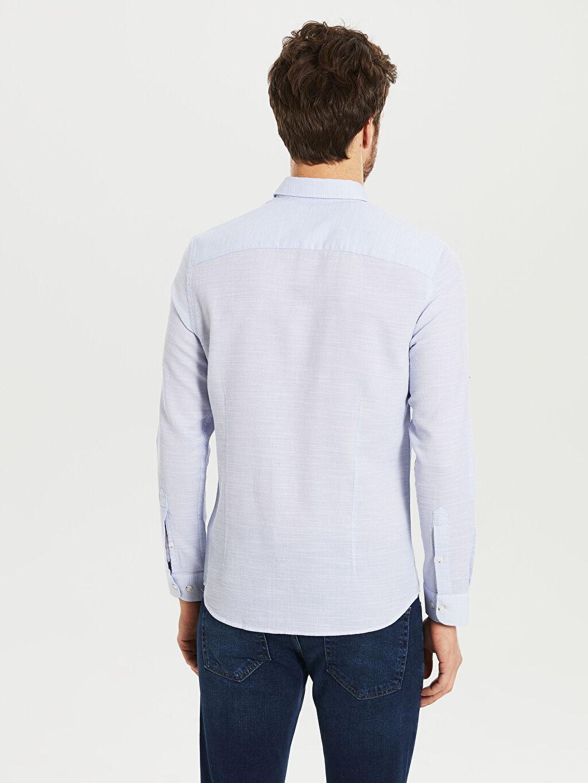 Erkek Slim Fit Armürlü Gömlek