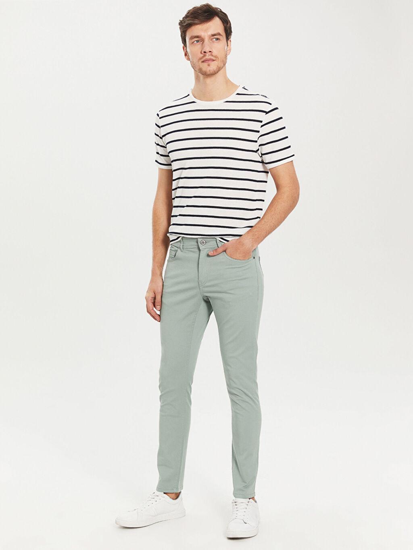 %97 Pamuk %3 Elastan Süper Skinny Gabardin Beş Cep Pantolon Dar Kalıp Gabardin Chino Pantolon
