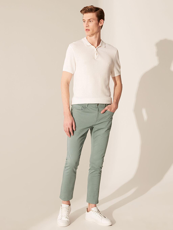 Yeşil Dar Kalıp Gabardin Chino Pantolon 0S4766Z8 LC Waikiki