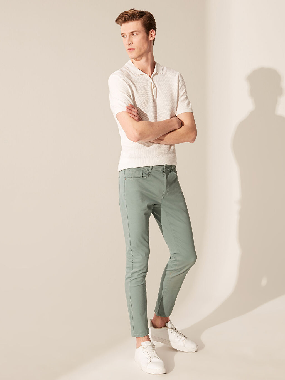 %97 Pamuk %3 Elastan Süper Skinny Gabardin Beş Cep Pantolon Orta Kalınlık Dar Kalıp Gabardin Chino Pantolon