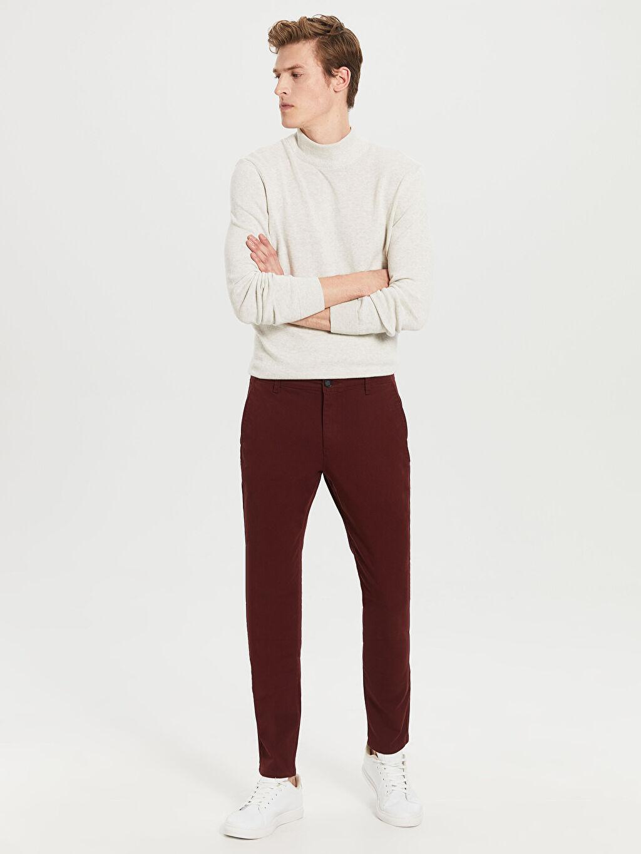 %97 Pamuk %3 Elastan Chino Pantolon Gabardin Skinny Orta Kalınlık Ekstra Dar Kalıp Gabardin Chino Pantolon