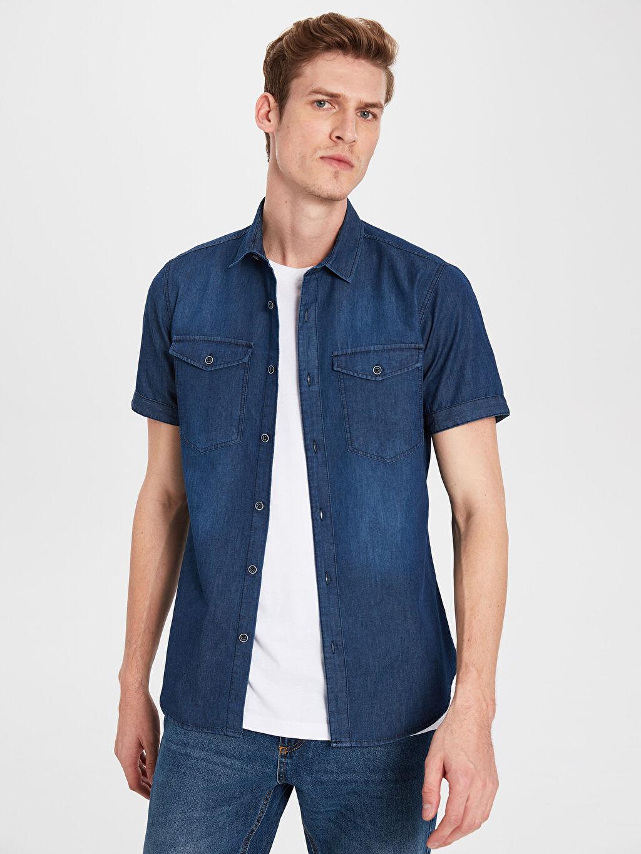 %80 Pamuk %20 Polyester Dar Kısa Kol Düz Gömlek Düğmesiz Slim Fit Kısa Kollu Jean Gömlek