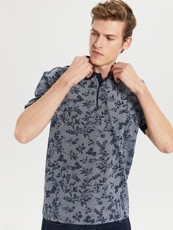 %100 Pamuk Baskılı Standart Kısa Kol Tişört Polo Polo Yaka Desenli Tişört