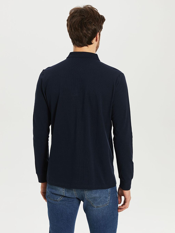 Erkek Polo Yaka Şeritli Uzun Kollu Tişört