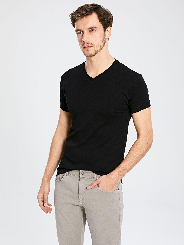 Siyah V Yaka Basic Tişört 0S5283Z8 LC Waikiki