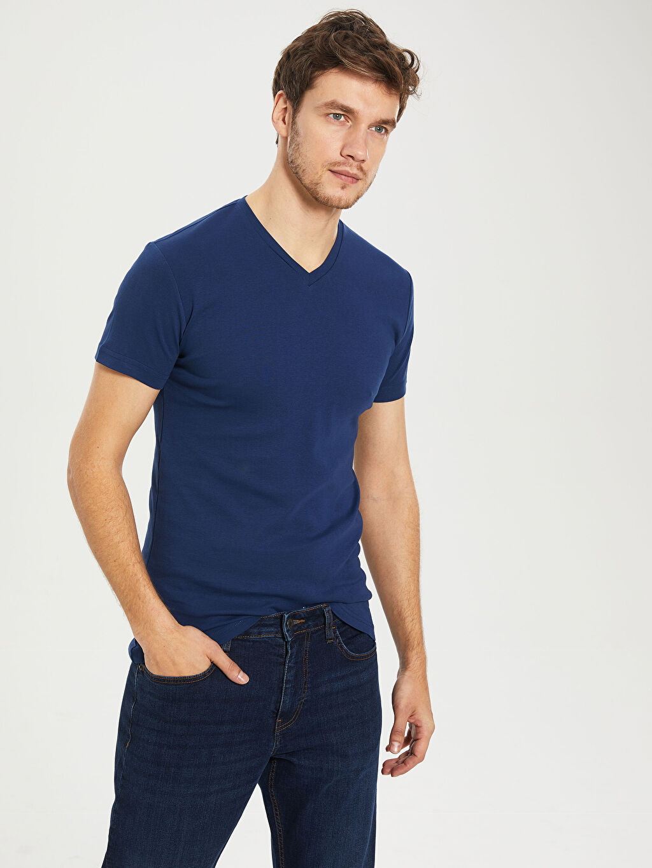 %100 Pamuk Dar Tişört V Yaka Kısa Kol Düz Ribana V Yaka Basic Tişört