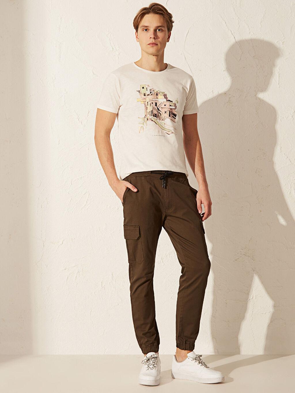 %98 Pamuk %2 Elastan Kargo Normal Bel Dar Pantolon Düz Standart Gabardin Slim Fit Gabardin Kargo Pantolon