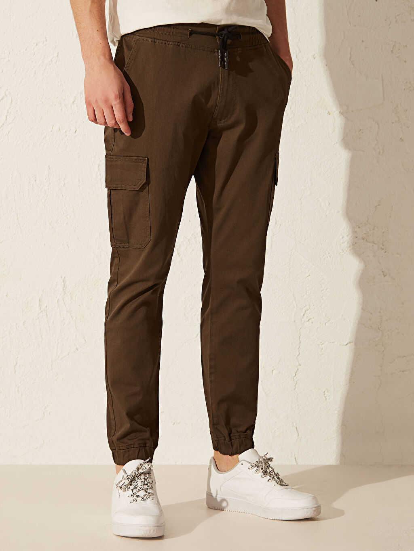 %98 Pamuk %2 Elastan Slim Fit Gabardin Kargo Pantolon