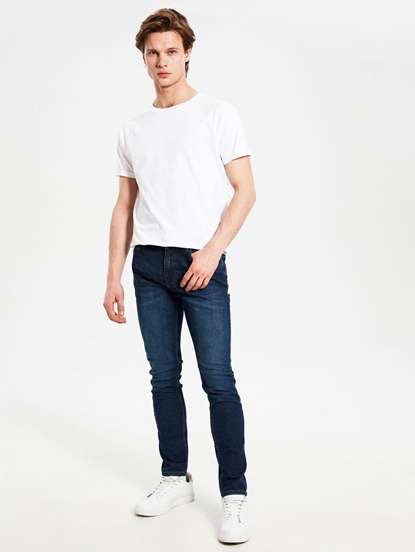 %84 Pamuk %14 Polyester %2 Elastan Jean Ekstra Dar Normal Bel Beş Cep Orta Kalınlık 760 Skinny Fit Jean Pantolon