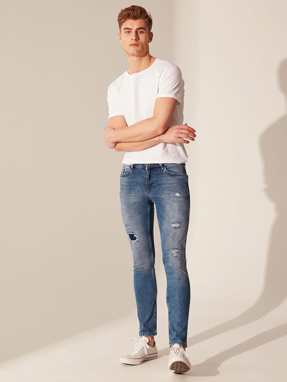 %84 Pamuk %14 Polyester %2 Elastan Jean Normal Bel Dar Beş Cep Orta Kalınlık 760 Skinny Fit Jean Pantolon