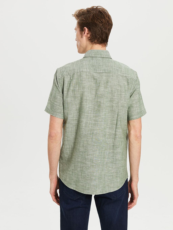 Erkek Regular Fit Kısa Kollu Keten Gömlek