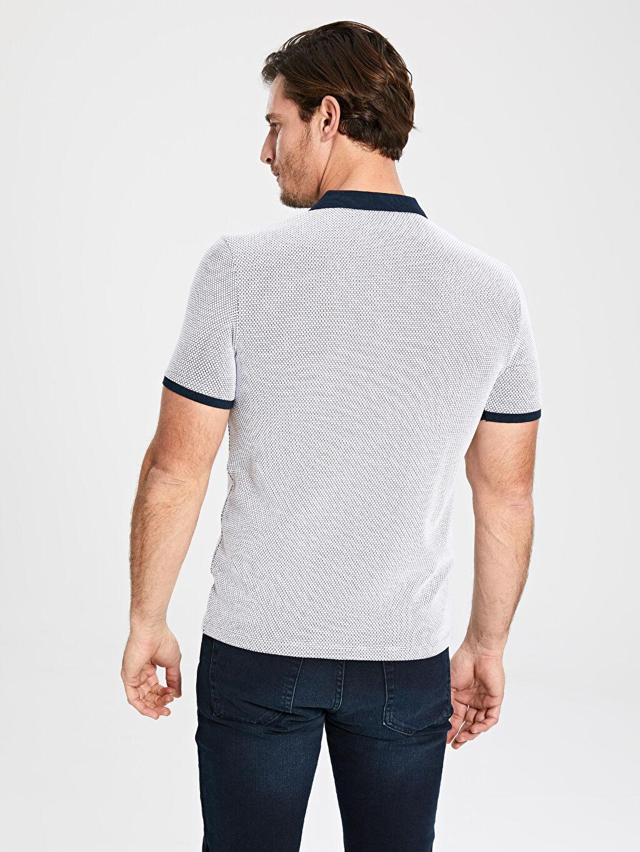 %77 Pamuk %20 Polyester %3 Elastan Polo Yaka Basic Tişört