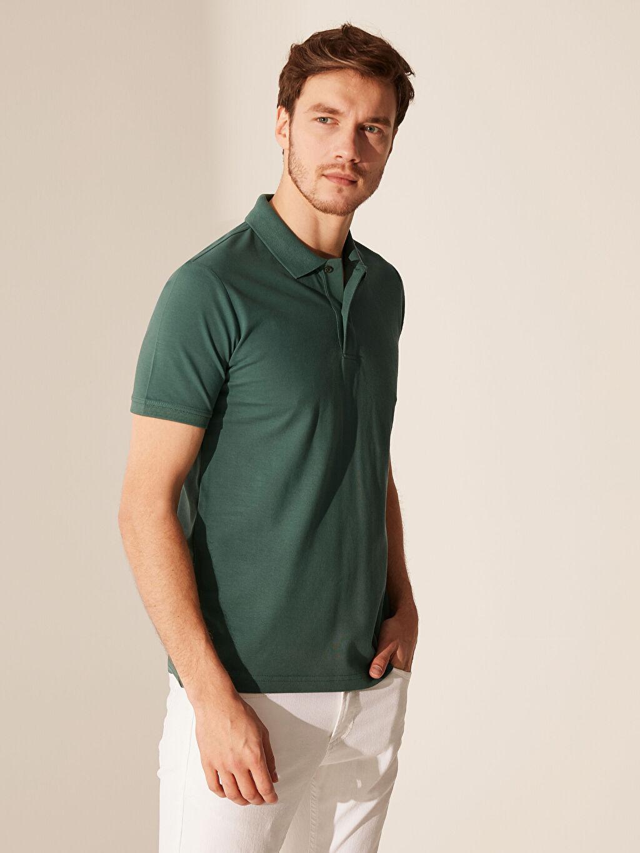 %100 Pamuk Polo Yaka Kısa Kol Düz Standart Tişört Pike Polo Yaka Basic Pike Tişört
