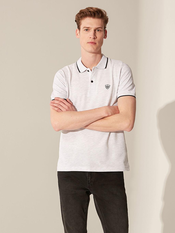 %85 Pamuk %15 Polyester Düz Kısa Kol Tişört Polo Standart Polo Yaka Basic Pike Tişört