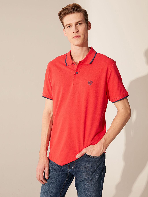 Kırmızı Polo Yaka Basic Pike Tişört 0S7198Z8 LC Waikiki