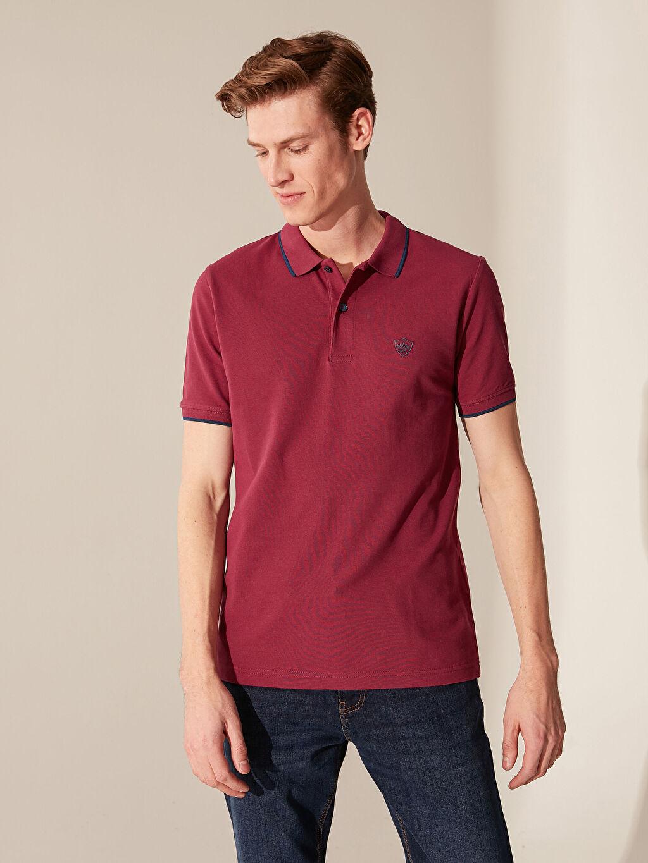 %100 Pamuk Düz Kısa Kol Tişört Polo Standart Polo Yaka Basic Pike Tişört