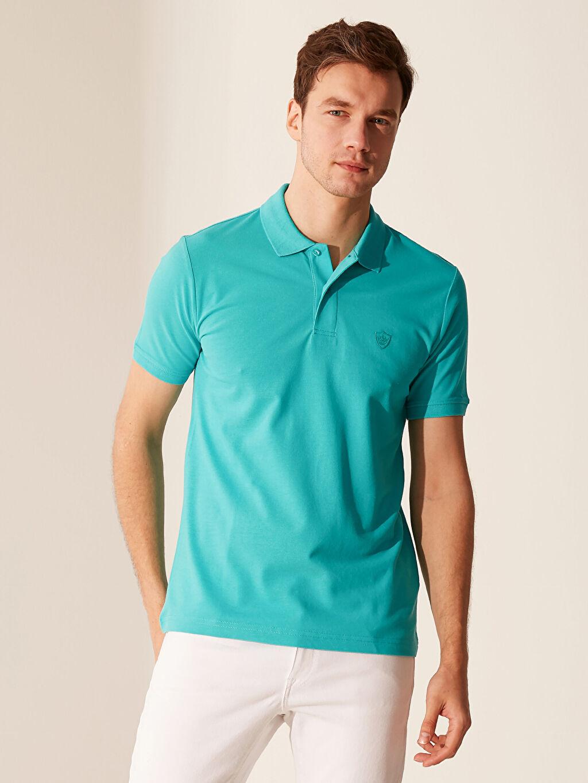 %100 Pamuk Düz Kısa Kol Tişört Polo Standart Polo Yaka Basic Tişört