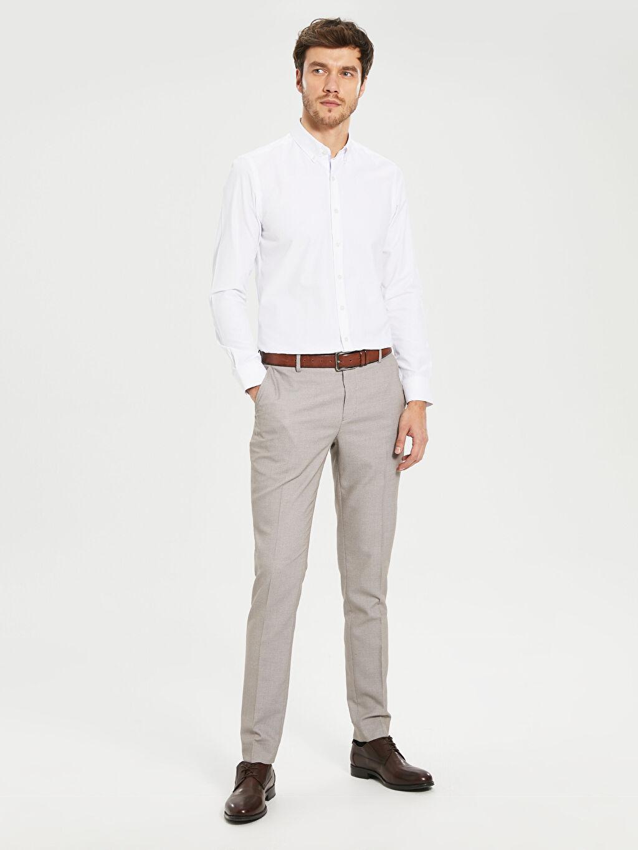 %72 Polyester %2 Elastan %26 Viskoz Normal Bel Pileli Pantolon Ekstra Dar Kalıp Armürlü Takım Elbise Pantolou