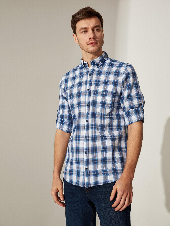 %100 Pamuk Patlı Uzun Kol Düğmeli Gömlek Yaka Poplin Gömlek Ekose Standart %100 Pamuk Regular Fit Ekose Poplin Gömlek
