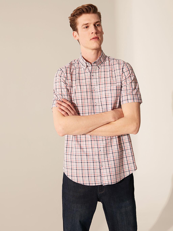 %52 Pamuk %48 Polyester Normal Kısa Kol Ekoseli Gömlek Düğmeli Regular Fit Ekose Kısa Kollu Gömlek