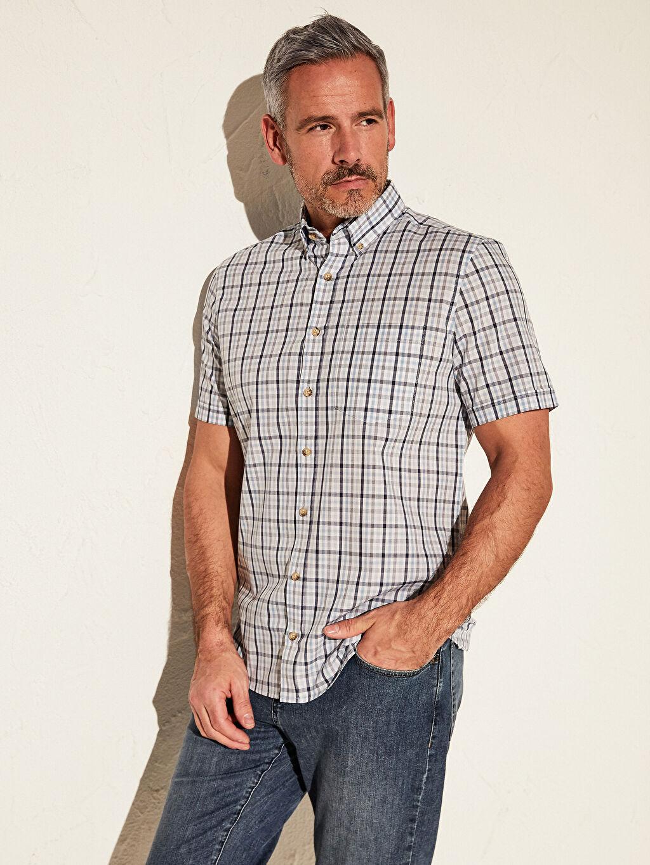 %52 Pamuk %48 Polyester Patlı Kısa Kol Düğmeli Gömlek Yaka Poplin Gömlek Ekose Standart Regular Fit Ekose Kısa Kollu Gömlek