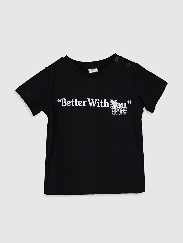 Siyah Aile koleksiyonu Erkek Bebek Slogan Yazı Baskılı Pamuklu Tişört 0S8019Z1 LC Waikiki