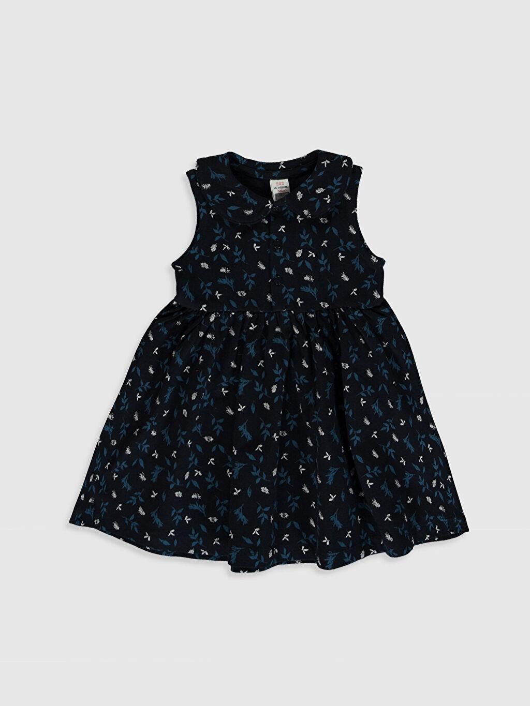 Lacivert Kız Bebek Desenli Elbise 0S8038Z1 LC Waikiki