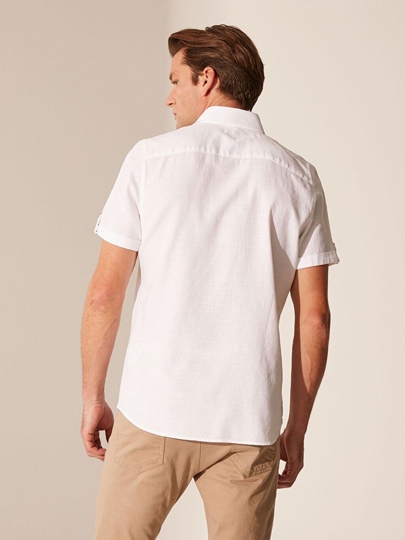 Erkek Slim Fit Kısa Kollu Armürlü Gömlek