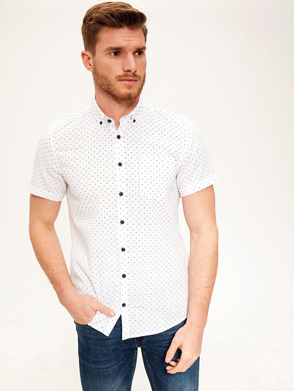 Beyaz Slim Fit Desenli Kısa Kollu Gömlek 0S8098Z8 LC Waikiki