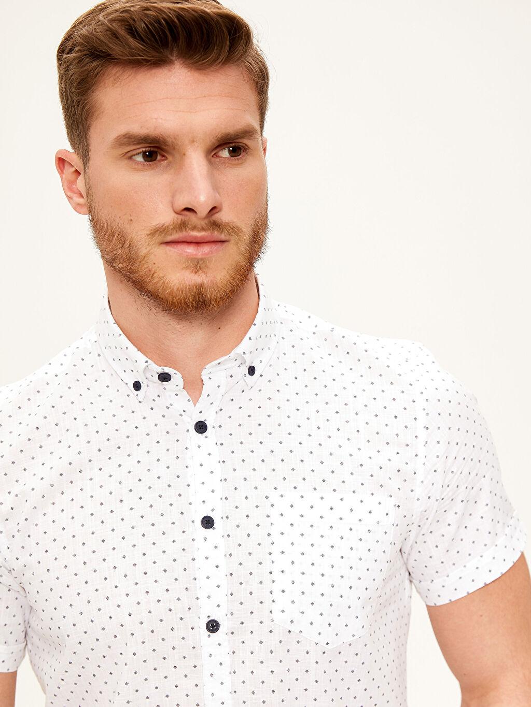 %100 Pamuk Dar Baskılı Kısa Kol Gömlek Düğmeli Slim Fit Desenli Kısa Kollu Gömlek