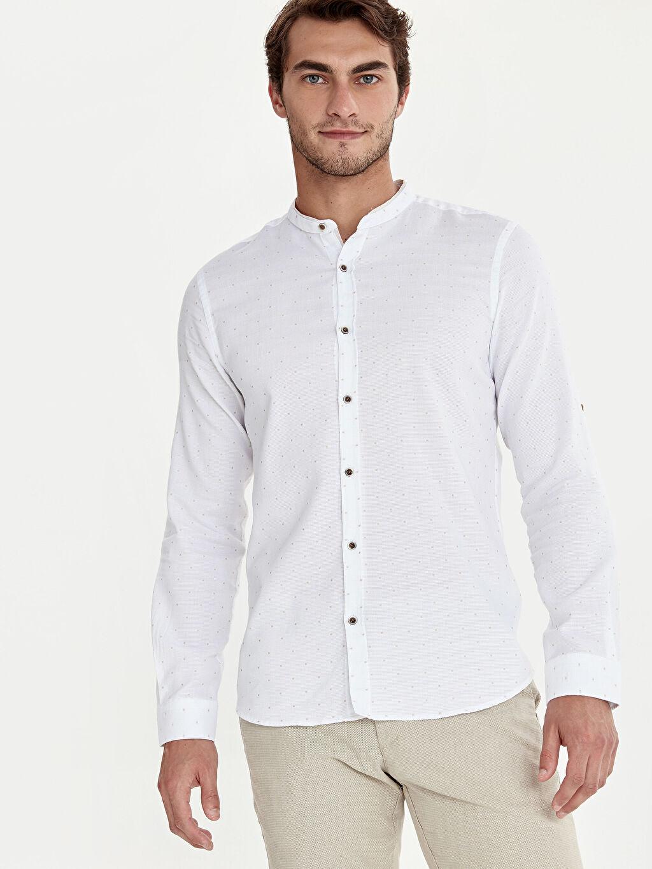 %100 Pamuk Dar Patlı Uzun Kol Düğmeli Gömlek Yaka Gömlek Baskılı Slim Fit Puantiyeli Hakim Yaka Gömlek