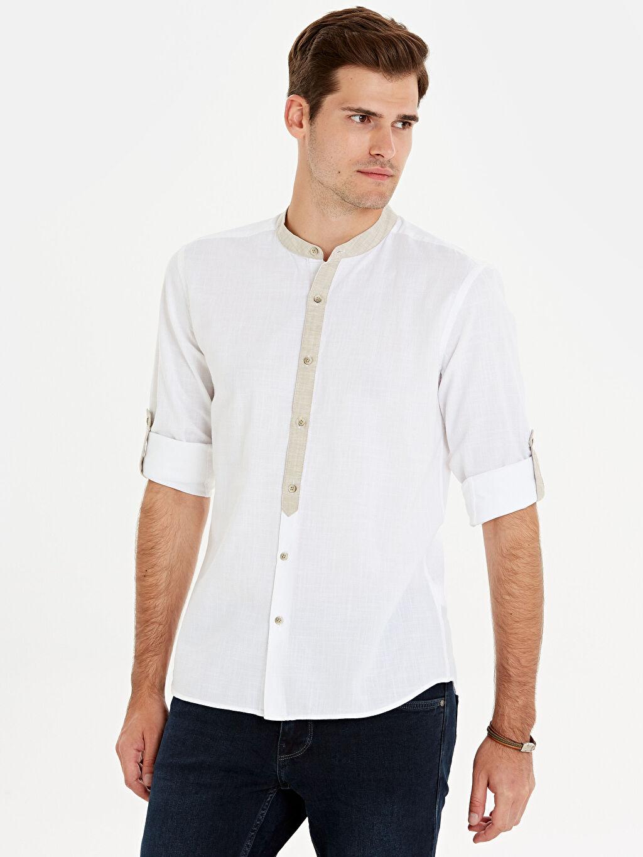 Beyaz Slim Fit Hakim Yaka Gömlek 0S8139Z8 LC Waikiki