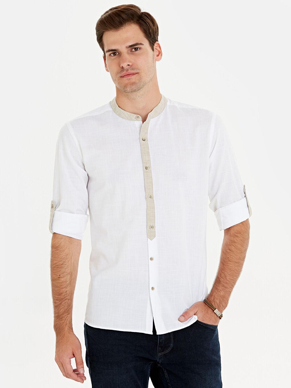 %100 Pamuk Dar Patlı Uzun Kol Düz Düğmeli Gömlek Yaka Poplin Gömlek %100 Pamuk Slim Fit Hakim Yaka Gömlek