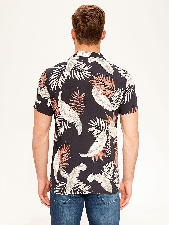 %100 Viskoz Gömlek Gömlek Yaka Baskılı Dar Patlı Kısa Kol Slim Fit Desenli Viskon Gömlek