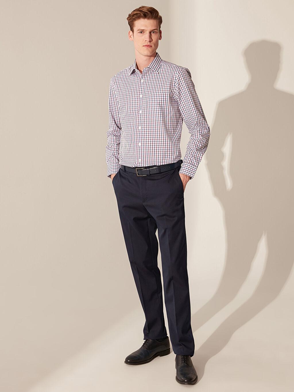 %55 Pamuk %45 Polyester Regular Fit Armürlü Ekose Gömlek