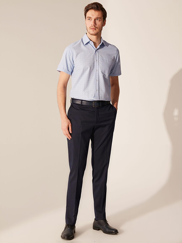 %54 Pamuk %46 Polyester Regular Fit Ekose Kısa Kollu Gömlek