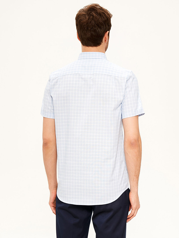 Erkek Regular Fit Kısa Kollu Ekose Gömlek